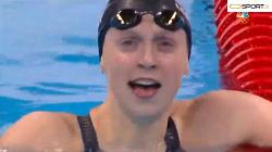 شکستن رکورد جهانی توسط  کیتی لدکی -شنای آزاد ۴۰۰ متر زنان المپیک ریو 2016